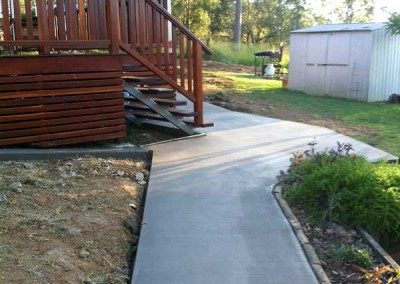 Concrete footpath and decking